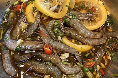 柠檬生腌虾|醉虾|下饭神器