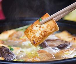 白菜叶豆腐锅的做法