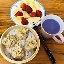#换着花样吃早餐#烧卖➕紫薯豆浆