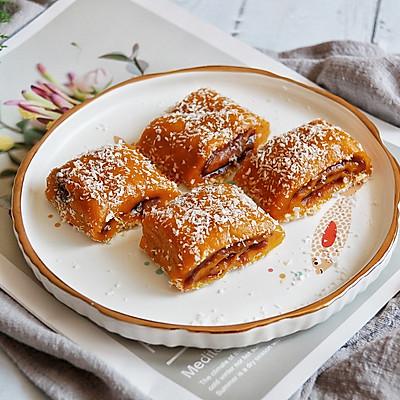 南瓜豆沙糯米卷—中式甜品