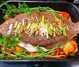 中西合璧烤比目鱼的做法