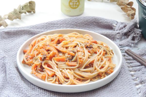外婆菜&火腿丝拌米粉的做法
