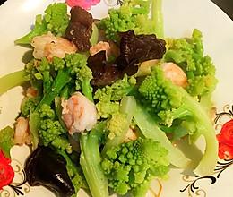 宝塔花菜炒虾仁的做法