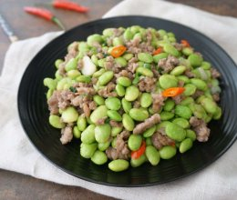 毛豆炒肉末的做法