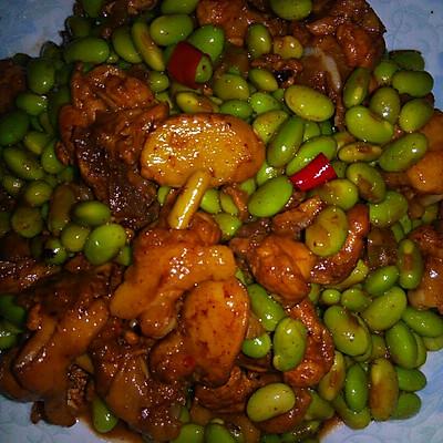 鸡腿焖青豆