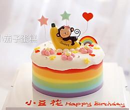 七彩晕染抹面小猴子蛋糕的做法