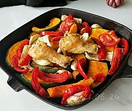 黑椒时蔬蒜香鸡的做法