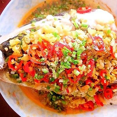 蒸菜之小米椒蒸鱼头
