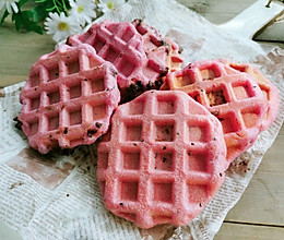 #尽享安心亲子食刻#粉嫩嫩少女心—两种口味华芙饼的做法