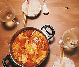 冬日料理 泡菜五花肉豆腐汤 配白米饭的做法