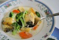 #少盐饮食 轻松生活#开学营养加分料理,蔬菜奶汁烩比目鱼的做法