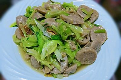 白菜梗炒肉丸子