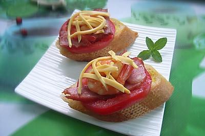 法棍开放式三明治