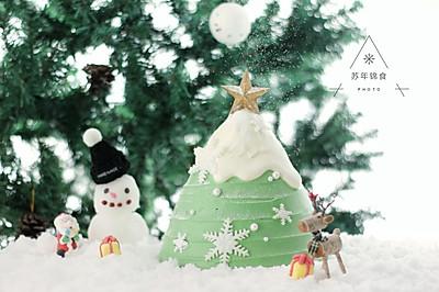 圣诞树枫糖戚风奶油蛋糕