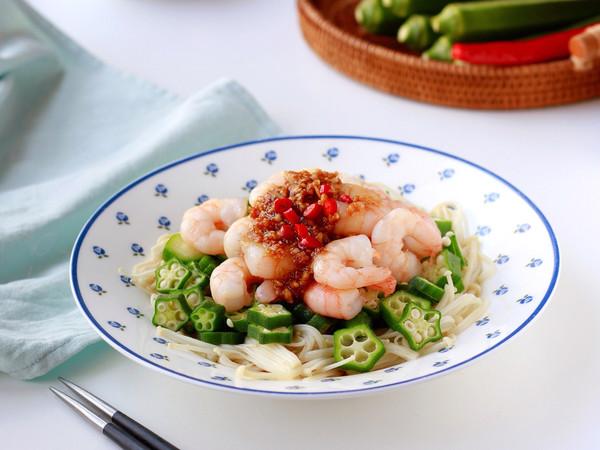 蒜香虾仁拌秋葵 一人食