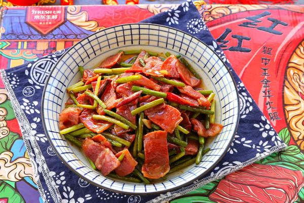 火腿片炒蒜苔