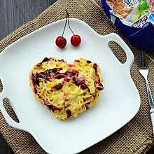 芝士蛋面饼#小虾创意料理#