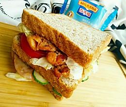 香辣鸡腿+火腿三明治#百吉福食尚达人#的做法