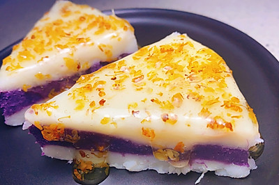 勺子压一压就做好的山药紫薯糕