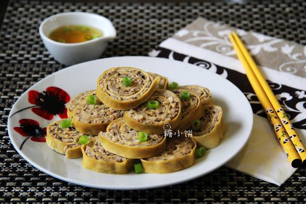 【豆腐皮香菇肉卷】瘦肉版清蒸肉卷的做法