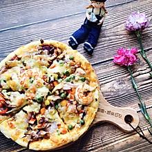 厚底鲜虾培根披萨