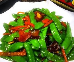 #李锦记旧庄蚝油鲜蚝鲜煮#荷兰豆炒腊肉的做法