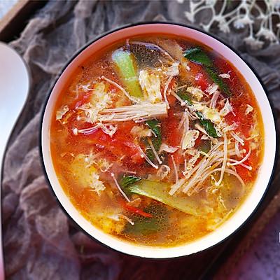 番茄金针菇青菜汤