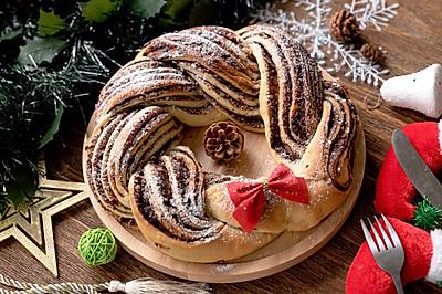 #令人羡慕的圣诞大餐#圣诞花环面包