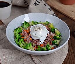 时蔬烩紫米饭配水波蛋#节后清肠大作战#的做法