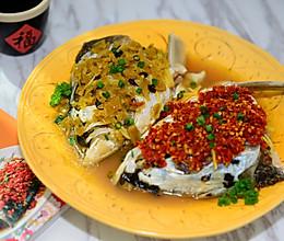 湘菜-双椒蒸鱼头的做法