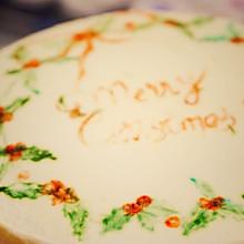 纯手绘 |满满都是爱的圣诞花环蛋糕