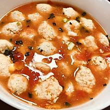 减脂无油番茄鸡肉丸子汤
