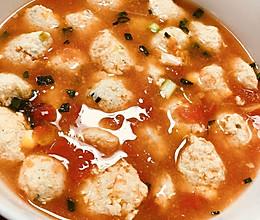 减脂无油番茄鸡肉丸子汤的做法