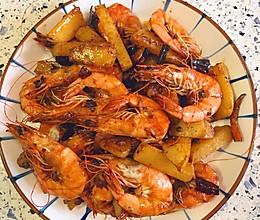 土豆干锅虾的做法