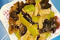 青椒豆皮炒黑木耳的做法