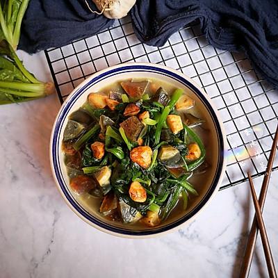 焦蒜皮蛋浸菠菜