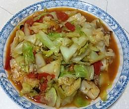 洋白菜炒西红柿的做法