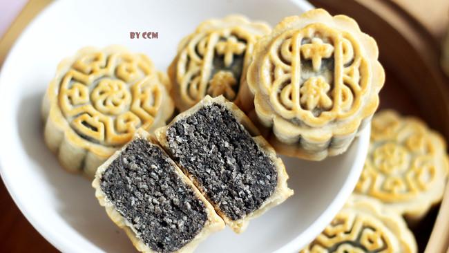 黑芝麻燕麦月饼,记录一个好办法,用燕麦来降低月饼的甜腻度!的做法