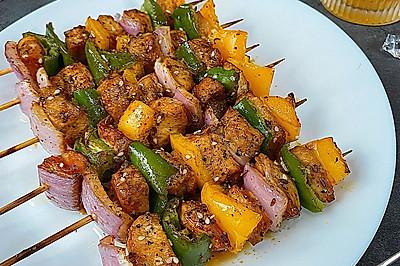 黑椒孜然烤鸡肉串