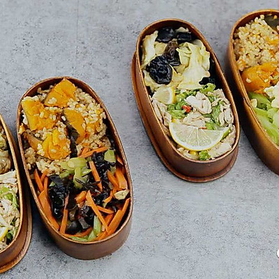 健康便当23(南瓜糙米饭+柠檬鸡丝+干锅包菜)