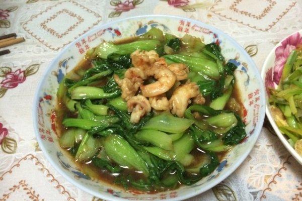 油菜炒虾仁的做法