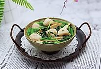 #春天肉菜这样吃#虾滑豆干茼蒿羹的做法