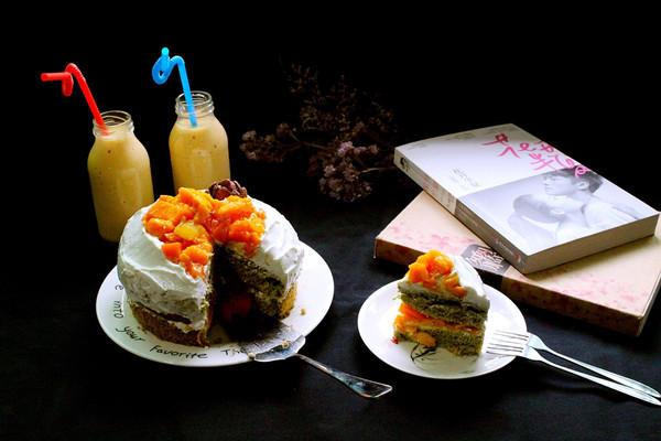 抹茶芒果裸蛋糕的做法