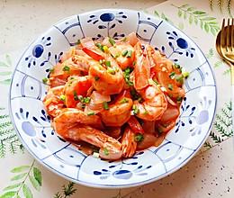 宴客菜@蒜蓉茄汁葱香开背虾的做法