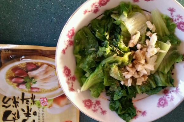 大喜大牛肉粉试用之炝生菜的做法