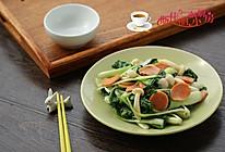 火腿菌菇炒白菜的做法
