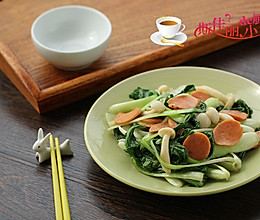 火腿菌菇炒白菜