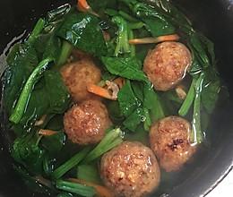 菠菜丸子海米汤的做法