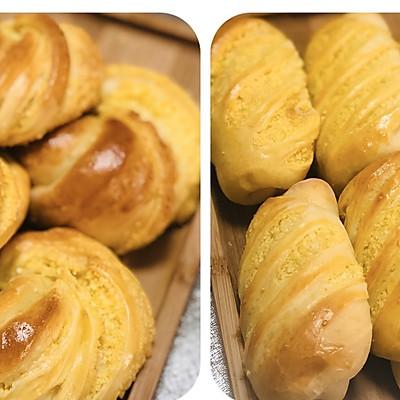 两种不同造型的:椰蓉奶香面包