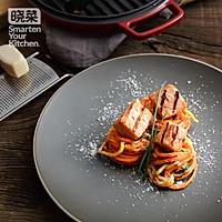 味噌香煎三文鱼配果蔬面条#福临门四面来彩#